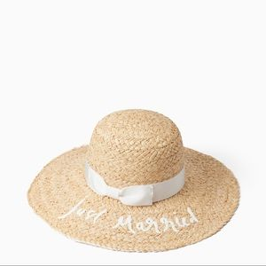 """Kate Spade """" Just Married"""" Straw Sun Hat"""